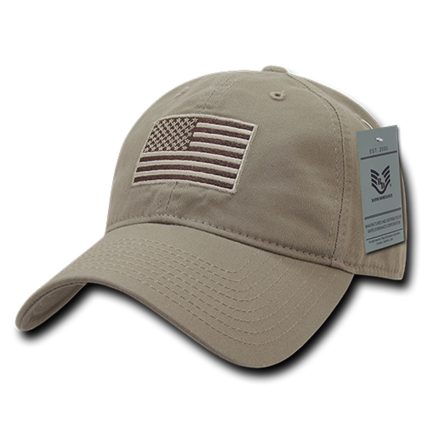 A03 - Tactical Operator Cap - Subdued US Flag - Khaki - Relaxed