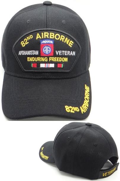 82nd Airborne Veteran Cap Afghanistan - Enduring Freedom - Black