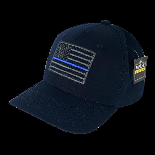 T108 - RapDom Police Thin Blue Line Operator Cap - Ripstop - Navy Blue