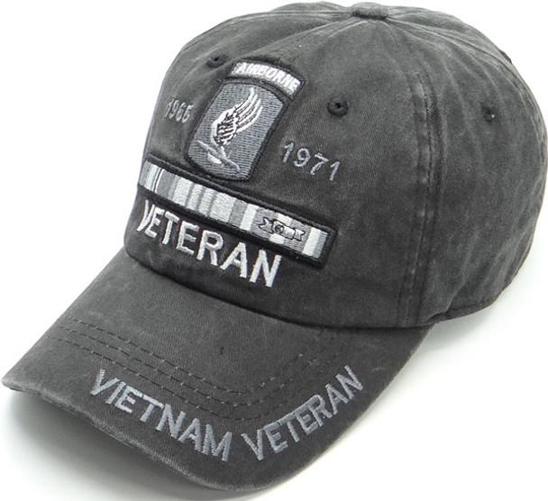 173rd Airborne Cap Vietnam Veteran - Cotton Washed Black