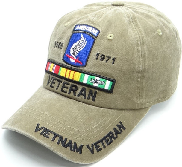 173rd Airborne Cap Vietnam Veteran - Cotton Washed Khaki