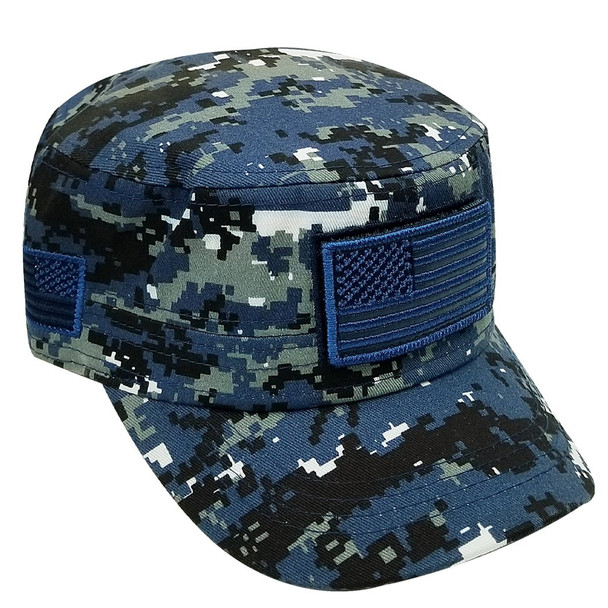Military Style Flat Top Cadet Patrol Cap  - USA Flag Patch - Blue Digital Camo