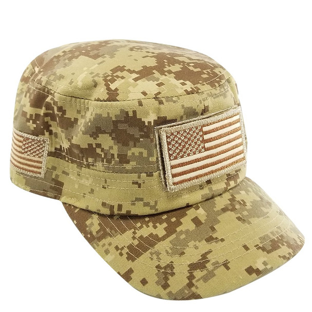Military Style Flat Top Cadet Patrol Cap  - USA Flag Patch - Desert Digital Camo