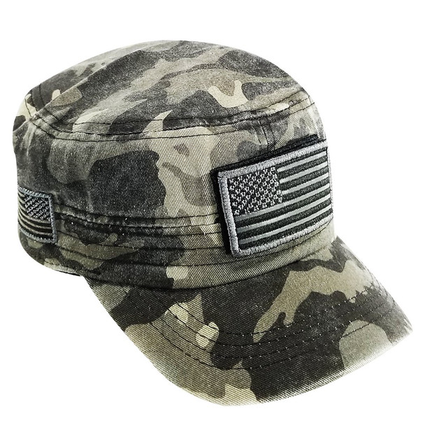 Military Style Flat Top Cadet Patrol Cap  - USA Flag Patch - Black Washed Camo