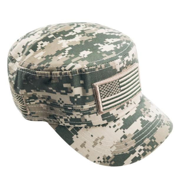 Military Style Flat Top Cadet Patrol Cap  - USA Flag Patch - ACU Digital Camo