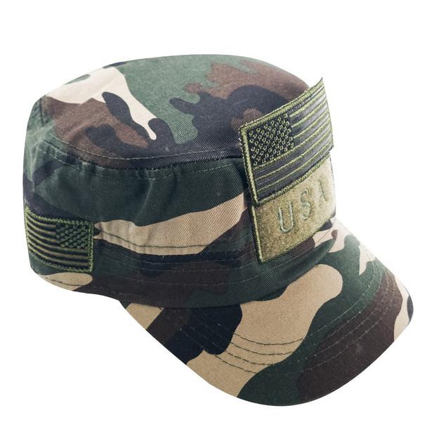 Military Style Flat Top Cadet Patrol Cap  - USA Flag Patch - Woodland Camo