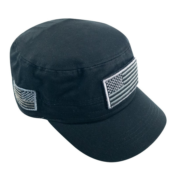 Military Style Flat Top Cadet Patrol Cap  - USA Flag Patch - Black
