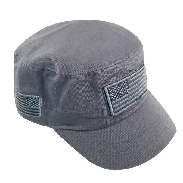 Military Style Flat Top Cadet Patrol Cap  - USA Flag Patch - Grey