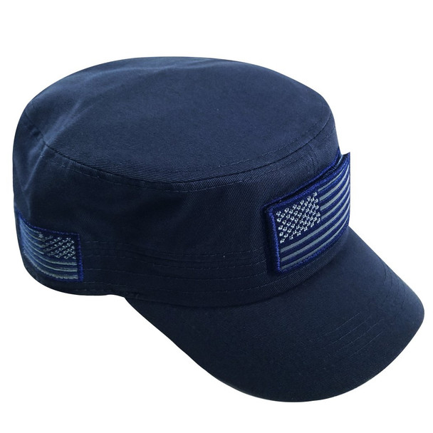 Military Style Flat Top Cadet Patrol Cap  - USA Flag Patch - Navy Blue