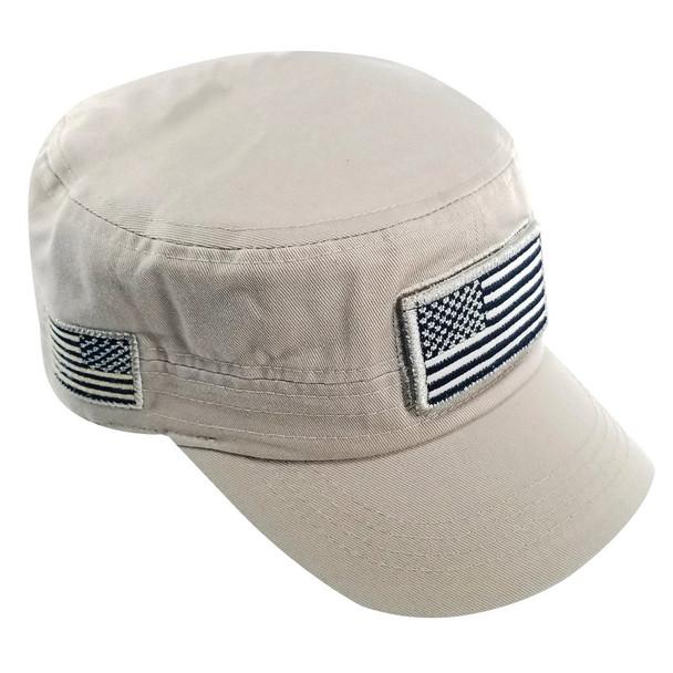Military Style Flat Top Cadet Patrol Cap  - USA Flag Patch - Khaki