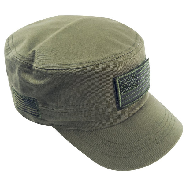 Military Style Flat Top Cadet Patrol Cap  - USA Flag Patch - Olive