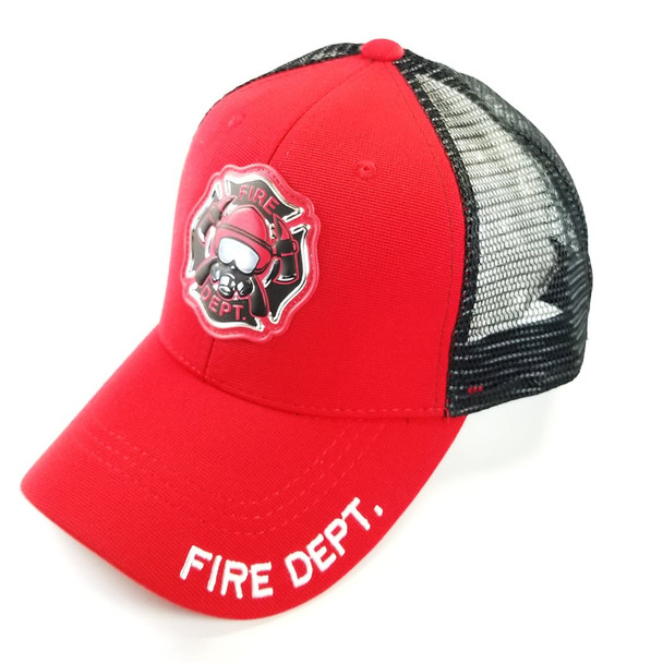Fire Department Cap - Mesh Snapback - Red