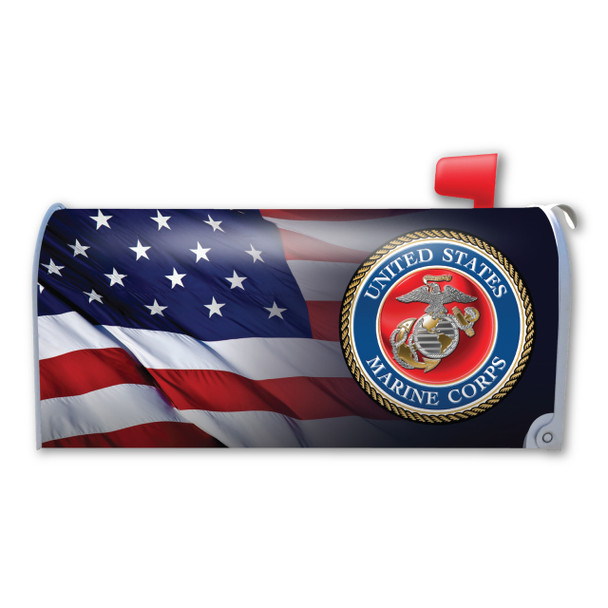"""Made In USA American Flag U.S. Marine Corps Mailbox Cover Magnet (21"""" x 18 3/8"""")"""
