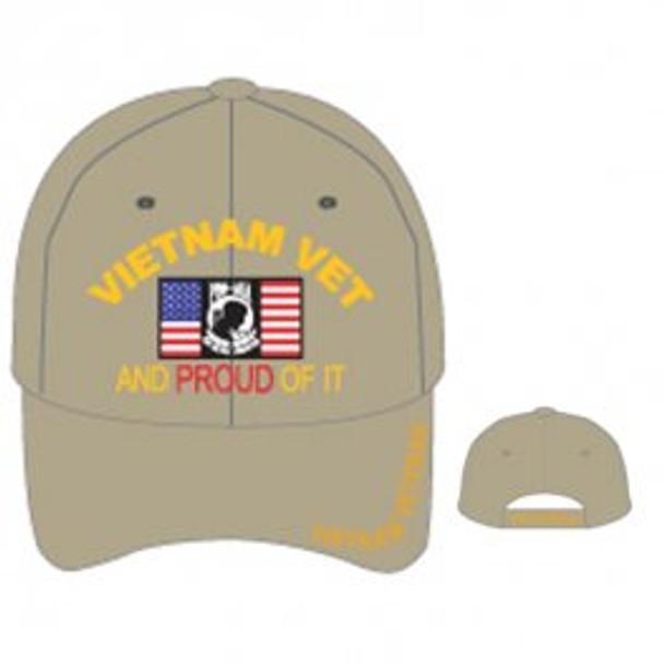 Vietnam Veteran Cap - US Flag POW-MIA - Khaki