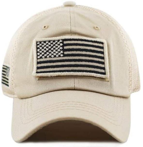 USA Flag Patch Cap - Soft Jersey Air Mesh - Khaki
