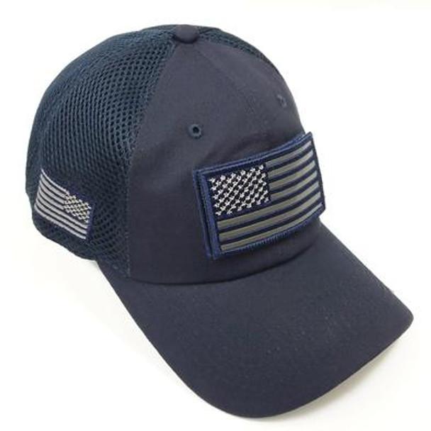 USA Flag Patch Cap - Soft Jersey Air Mesh - Navy Blue