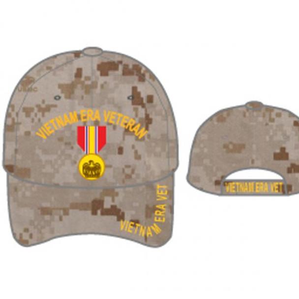Vietnam Era Veteran Cap - National Defense Medal - Desert Digital Camo