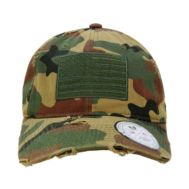A18 - Vintage USA Flag Cap - Distressed Cotton - Relaxed Fit - Woodland Camo