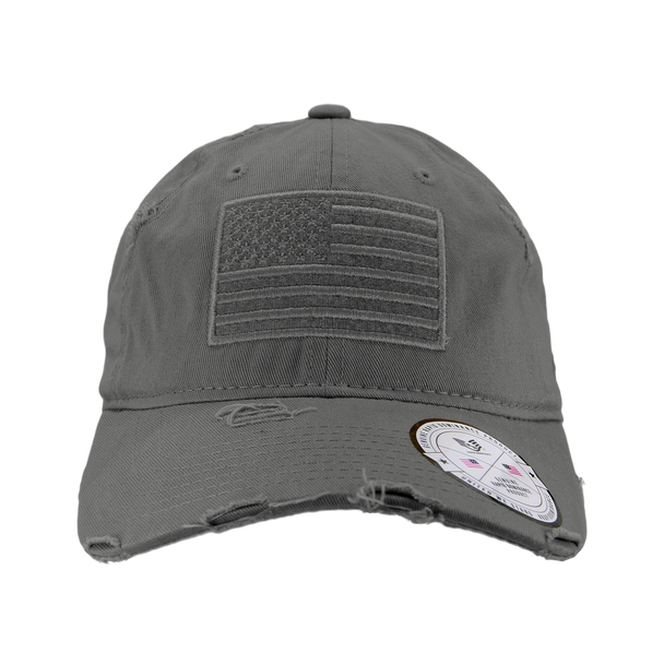 A18 - Vintage USA Flag Cap - Distressed Cotton - Relaxed Fit - Dark Grey