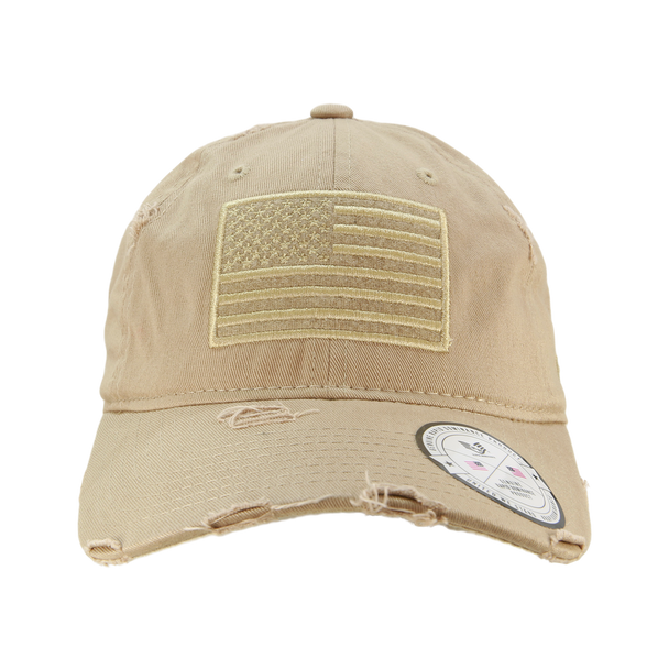 A18 - Vintage USA Flag Cap - Distressed Cotton - Relaxed Fit - Khaki