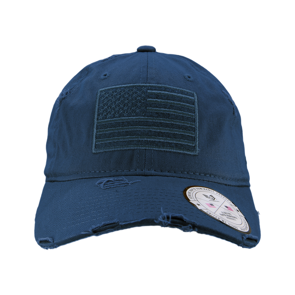A18 - Vintage USA Flag Cap - Distressed Cotton - Relaxed Fit - Navy Blue