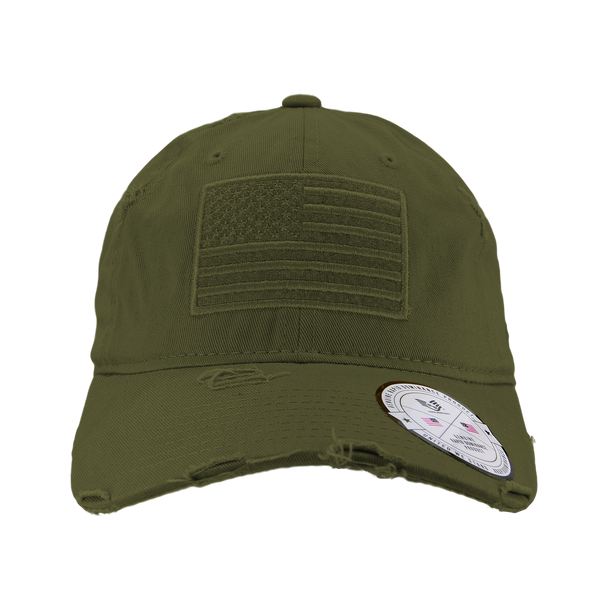 A18 - Vintage USA Flag Cap - Distressed Cotton - Relaxed Fit - Olive