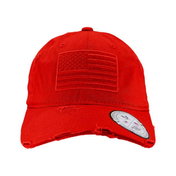 A18 - Vintage USA Flag Cap - Distressed Cotton - Relaxed Fit - Red