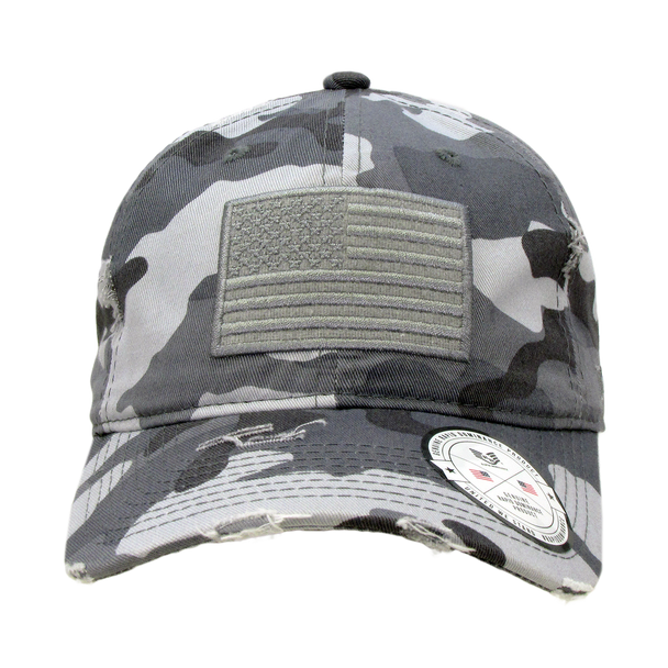 A18 - Vintage USA Flag Cap - Distressed Cotton - Relaxed Fit - Urban Camo