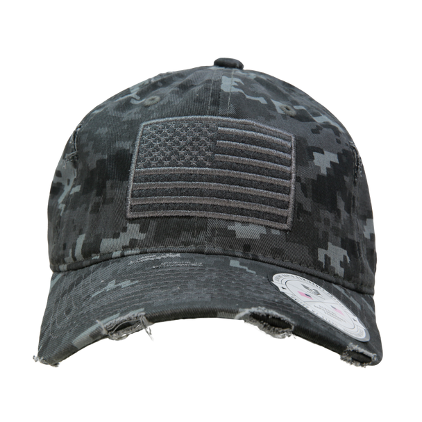 A18 - Vintage USA Flag Cap - Distressed Cotton - Relaxed Fit -  Night Digital Camo