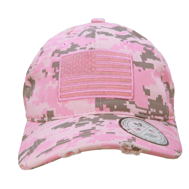 A18 - Vintage USA Flag Cap - Distressed Cotton - Relaxed Fit - Pink Digital Camo