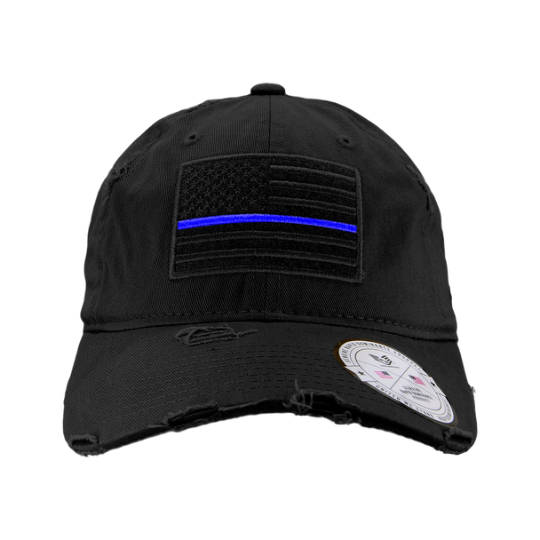 A18 - Vintage Thin Blue Line Cap - Distressed Cotton - Relaxed Fit - Black