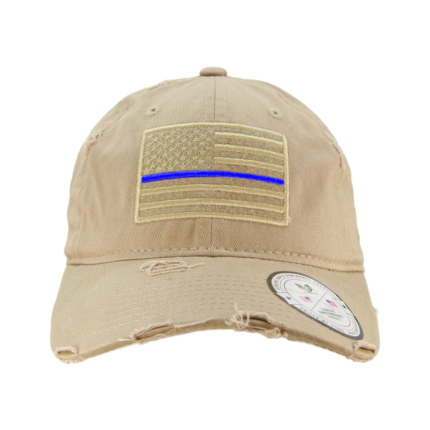 A18 - Vintage Thin Blue Line Cap - Distressed Cotton - Relaxed Fit - Khaki