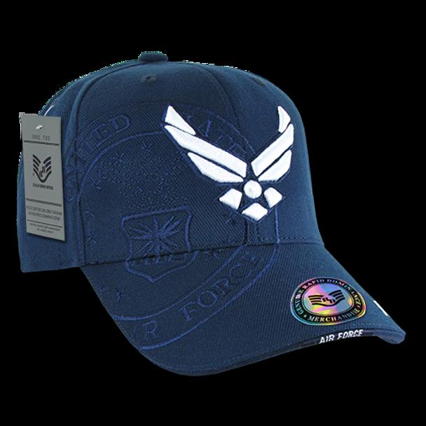 S007 - Shadow Military Cap - U.S. Air Force Wings Logo - Dark Blue