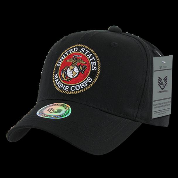 S76 - Military Hat - U.S. Marines Seal - Black