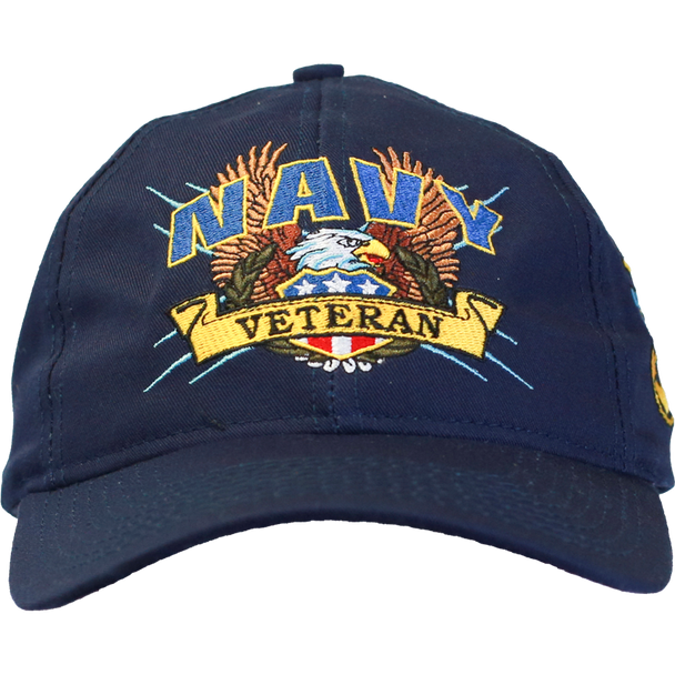 19254 - U.S. Navy Veteran Cap - Screaming Eagle - Made In USA - Navy Blue