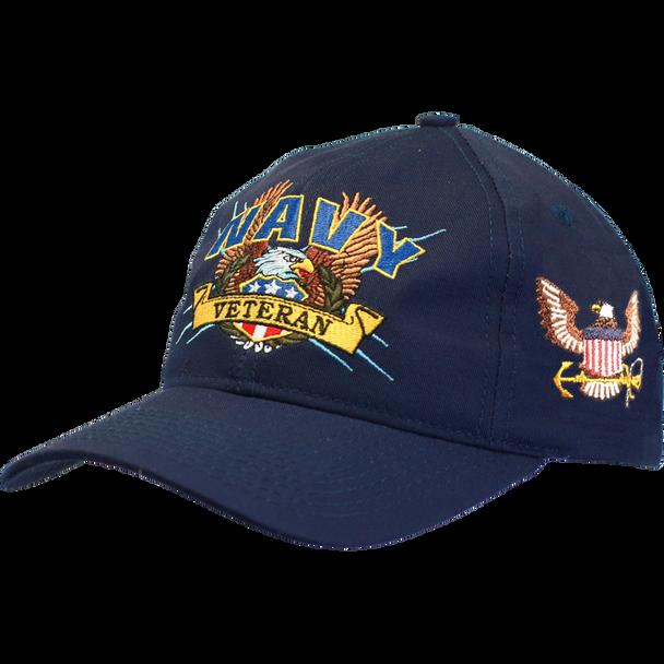 19254 - U.S. Navy Veteran Cap - Screaming Eagle - Made In USA - Navy Blue