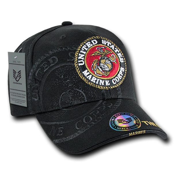 ... S007 - U.S. Marines Logo Shadow Cap - Direct Embroidered - Black ... 43f647d80ad9