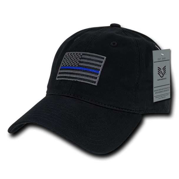 3b845882b A03 - Police Cap - Thin Blue Line - Relaxed Cotton - Black