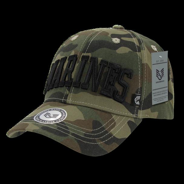 940 - Marines Cap Text Woodland Camouflage