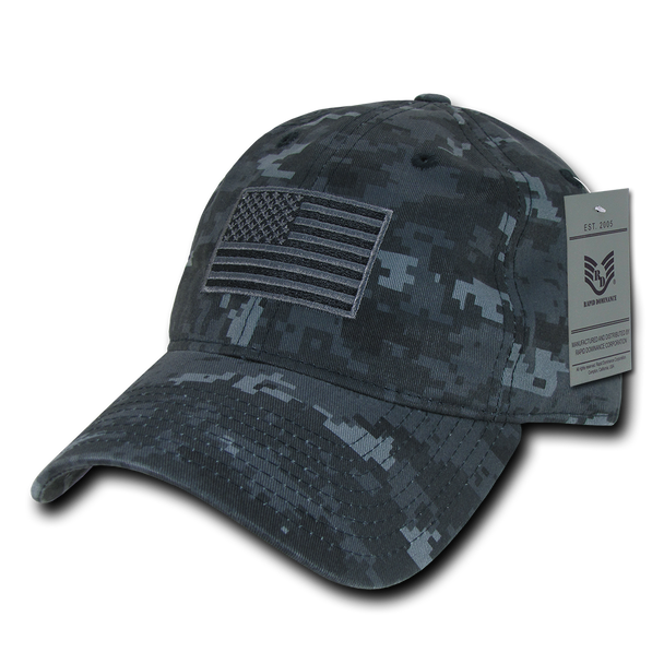 A03 - Tactical Operator Cap Tonal US Flag Navy Blue Digital Camouflage Relaxed