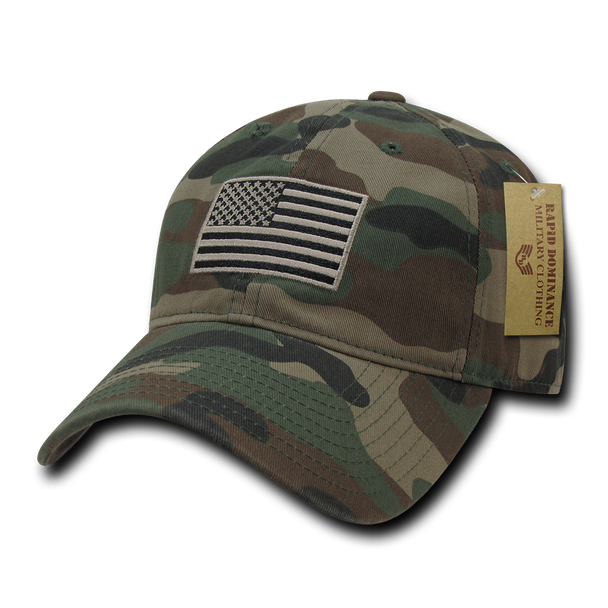 A03 - Tactical Operator Cap Tonal US Flag Woodland Camouflage Relaxed