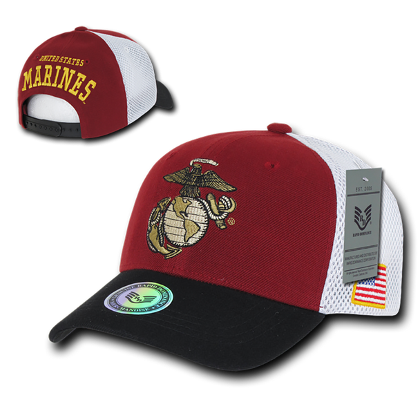 S010 - Military Hat - US Marines Cap - Mesh Cotton - Black/Maroon