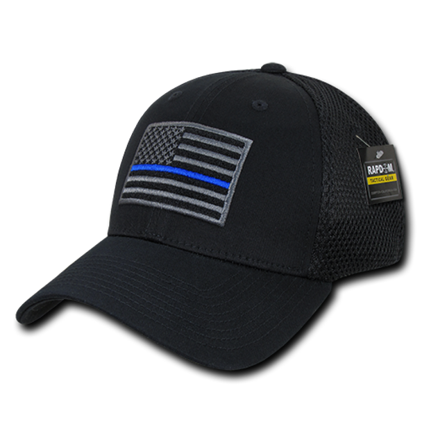 T88 - Police Cap Thin Blue Line - Low Crown Structured Air Mesh Flex - Black