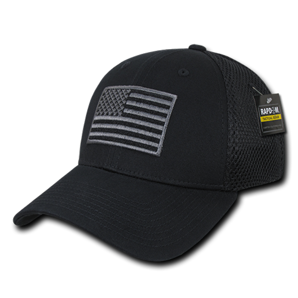 T88 - Tactical Cap USA Flag - Low Crown Structured Air Mesh Flex - Black
