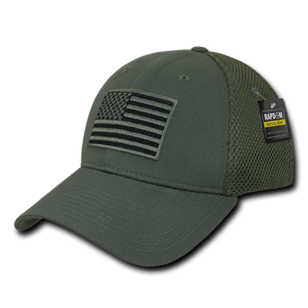 T88 - Tactical Cap USA Flag - Low Crown Structured Air Mesh Flex - Olive Drab