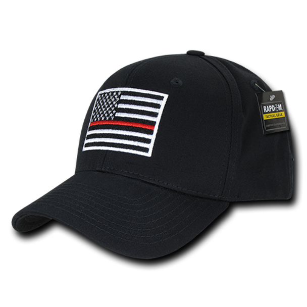 T76 - Firefighter Cap Thin Red Line USA Flag - Structured Cotton - Black