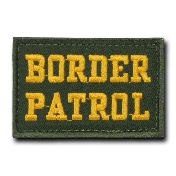 """T91 - Tactical Patch - Border Patrol - Velcro Canvas (3""""x2"""") - Olive Drab"""