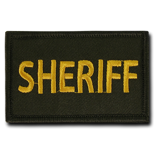 "T91 - Tactical Patch - Sheriff - Velcro Canvas (3""x2"") - Olive"