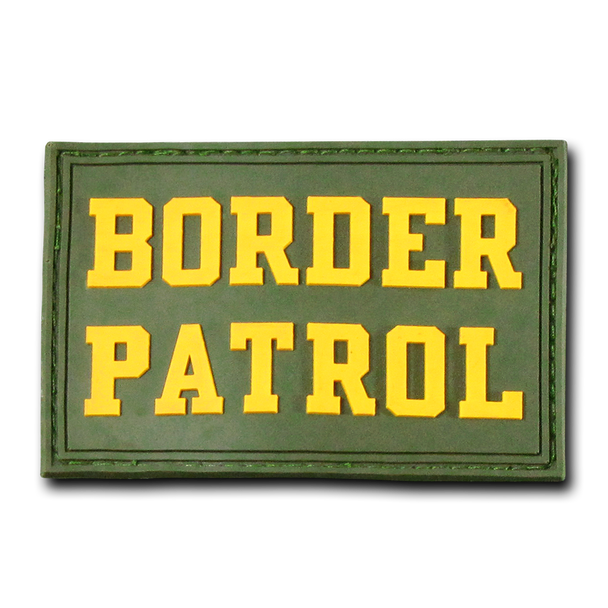 """T90 - Tactical Patch - Border Patrol - Rubber (3""""x2"""") - Olive"""