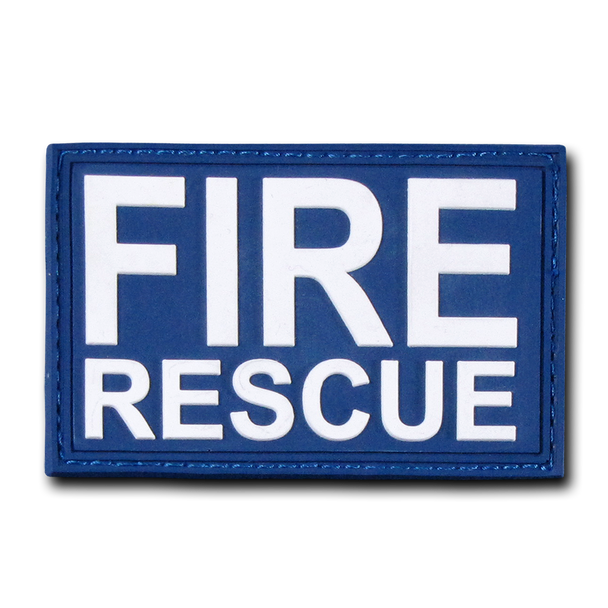 "T90 - Tactical Patch - Fire Rescue - Rubber (3""x2"") - Blue"
